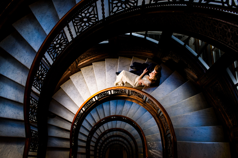 Bride and Groom on The Rookery staircase Chicago
