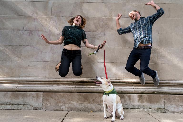Chicago engagement photos dog