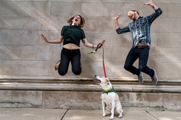 Chicago engagement photos dog