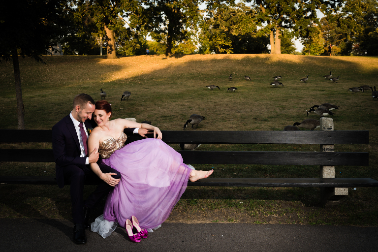 Purple wedding gown by Candice Cusic