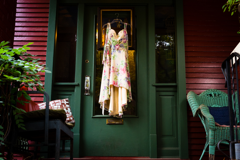 Wedding dress on door