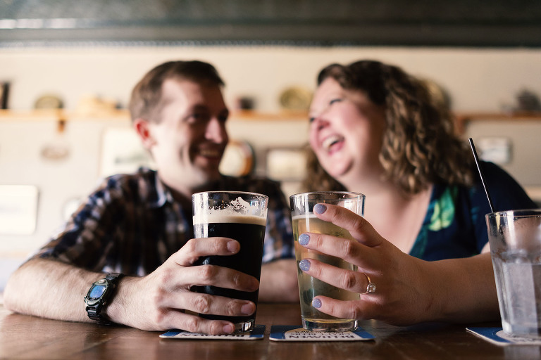 Engagement session favorite neighborhood bar Lakeview Chicago by Candice Cusic Photography